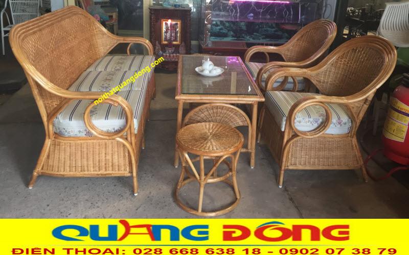 Bộ sofa mây tự nhiên được Nội thất Quang Đông sản xuất theo yêu cầu của khách sạn Hoa Lư tại Thủ Đô Hà Nội