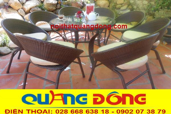 Những bộ bàn ghế dùng cho ngoài trời sân vườn quán cafe, Bộ bàn ghế giả mây QD-044