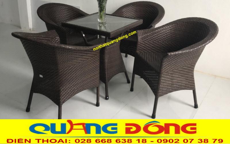 Bộ bàn ghế nhựa giả mây QD-074 sản phẩm tuyệt vời chuyên dụng cho quán cafe