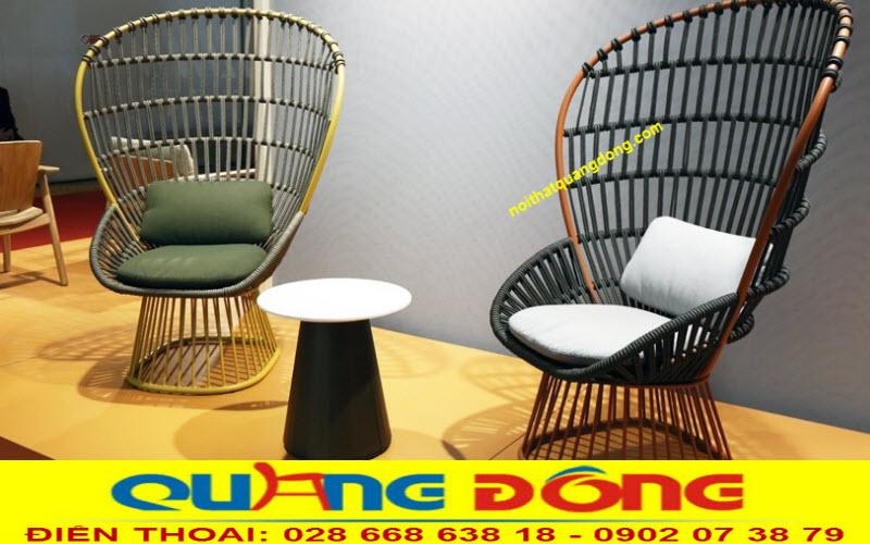 Bộ bàn ghế giả mây QD-2026 đan sợi dây dù polyester cao cấp
