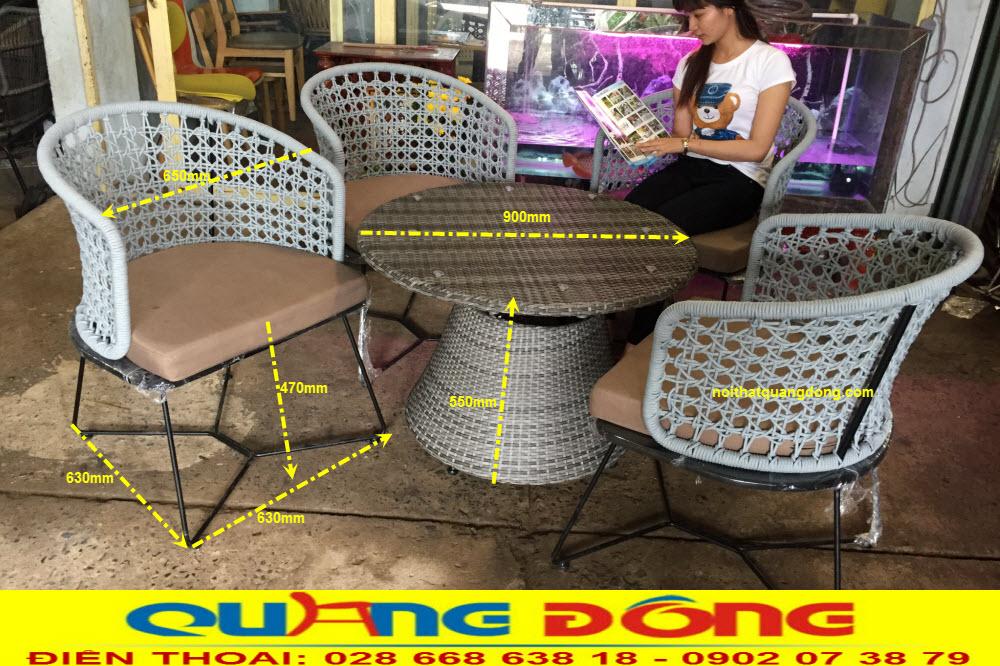 Công ty sản xuất ghế giả mây đan sợi dù polyester, quy cách chuẩn bộ bàn ghế giả mây QD-2053