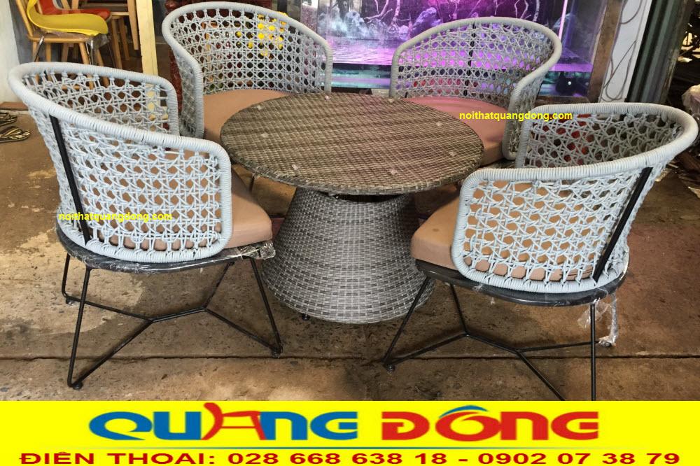 Bàn ghế đan dây dù polyester siêu bền chịu mưa nắng, mẫu ghế giả mây cao cấp