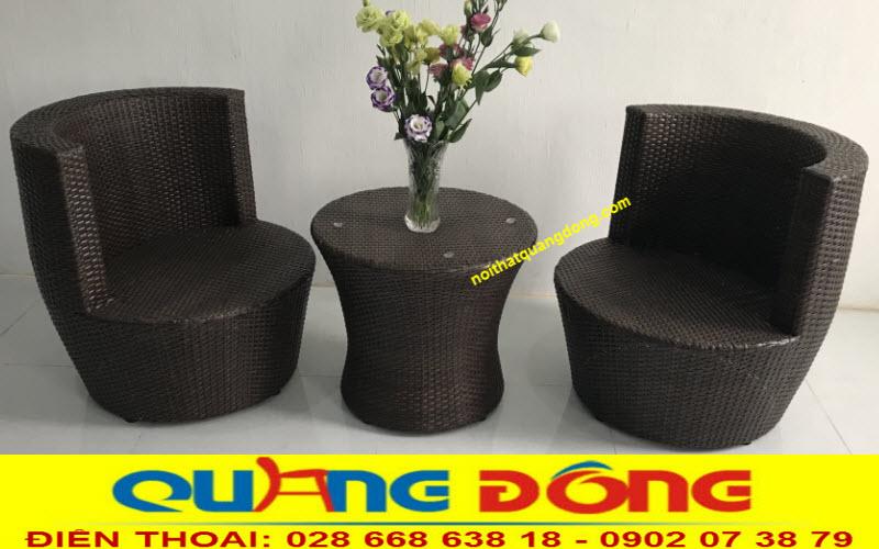 Mẫu bàn ghế giả mây QD-2075 chuyên dùng cho ban công, hành lang khách sạn, chung cư, hộ gia đình