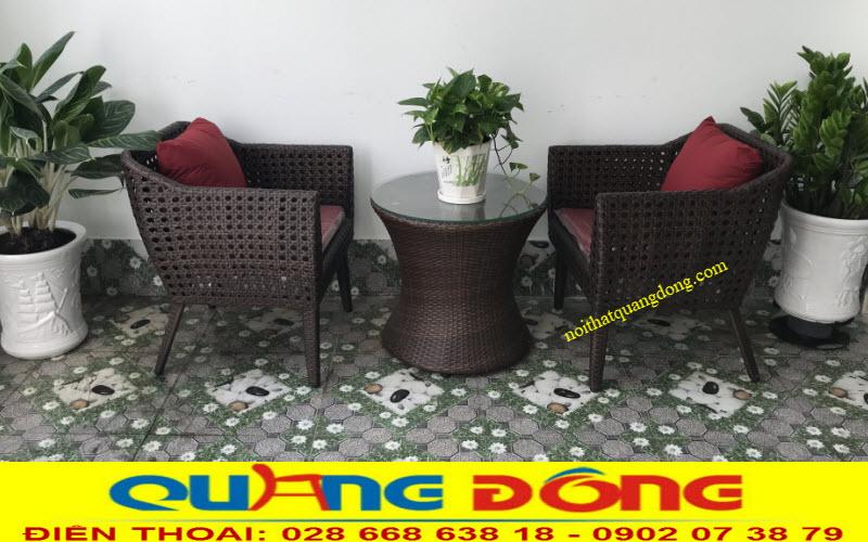 Bộ bàn ghế giả mây đan mắt cáo QD-268 sản phẩm đan lát thủ công mỹ nghệ