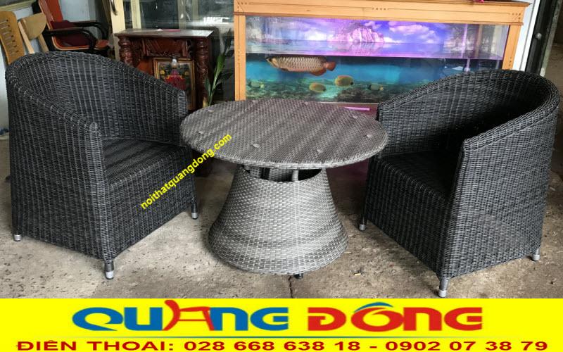 Kiểu dáng mới lạ sản xuất bằng sợi nhựa tròn 3,2 ly siêu bền đẹp, mẫu bàn ghế giả mây QD-269 dùng cho cả nội và ngoại thất sân vườn