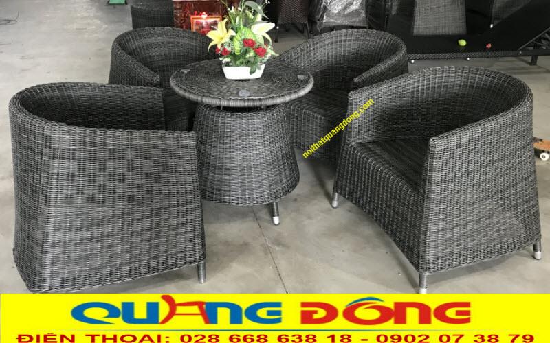Bàn ghế giả mây QD-269 đan sợi nhựa tròn 3,5ly vô cùng công phu tỷ mỷ, bền đẹp chịu mưa nắng