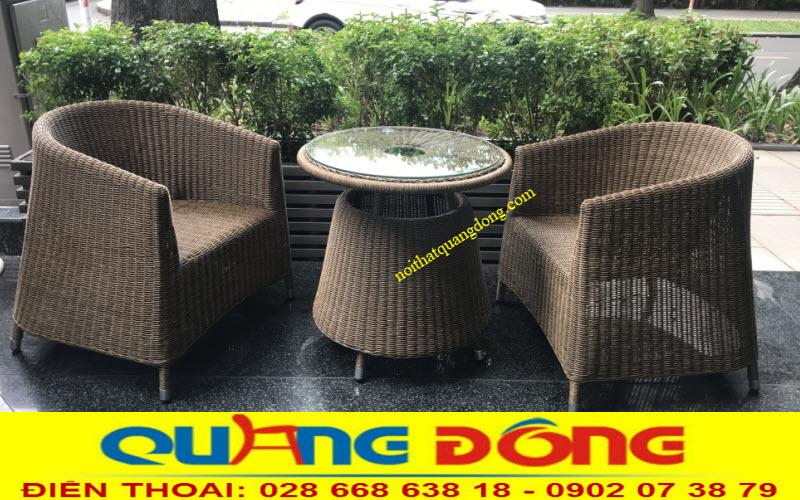 Mẫu bàn ghế giả mây QD-269 đan sợi mây nhựa tròn siêu bền chuyên dùng cho sân vườn ngoài trời