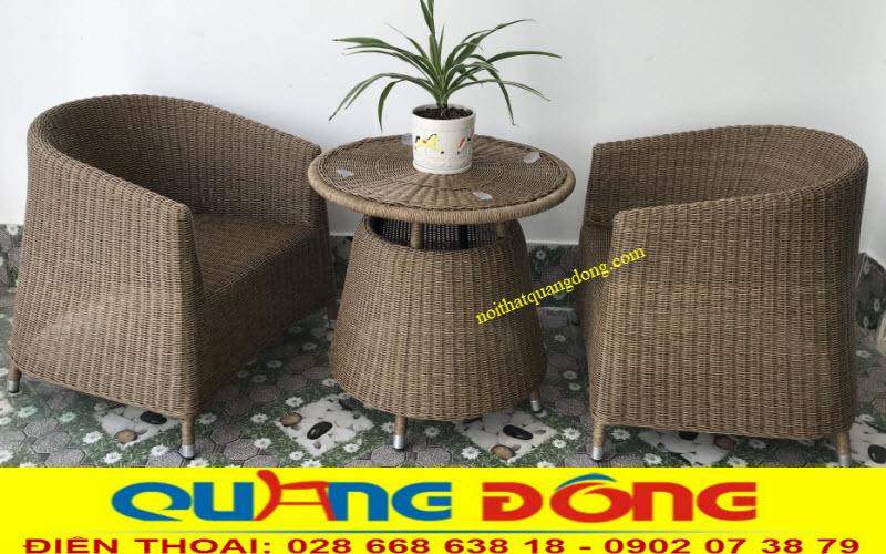 Bộ bàn ghế gia rmaay QD-269 đan sợi nhựa tròn màu nâu mốc 2 ghế 1 bàn