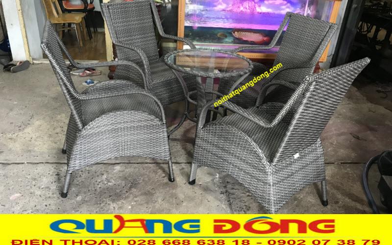 Bộ bàn ghế giả mây QD-272 màu xám, Nơi sản xuất ghế giả mây tại hcm