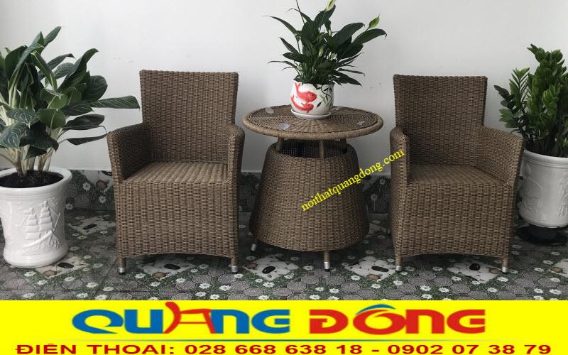 Bàn ghế đan nhựa giả mây thủ công bằng sợi nhựa tròn 3,2 ly có hoạt chất kháng UV tia cực tím chuyên dùng ngoài trời
