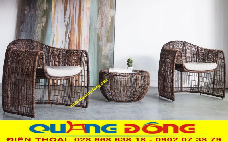 Mẫu bàn ghế giả mây QD-275 đan sợi dây tròn chịu mưa nắng rất êm thoáng
