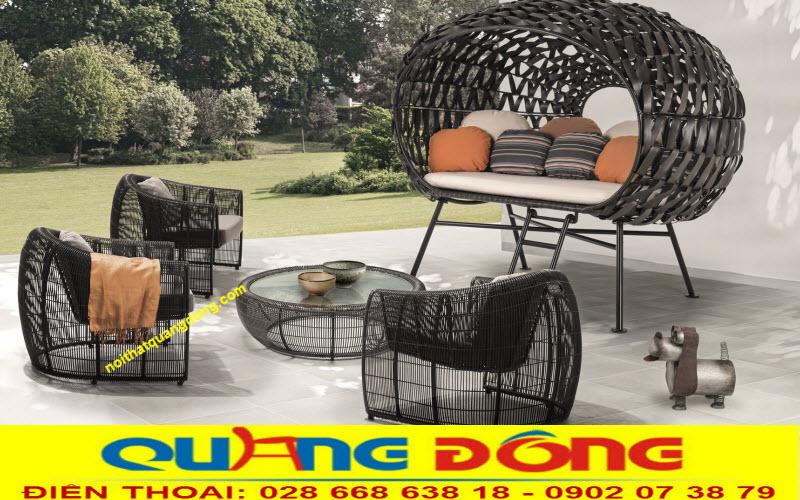 Mẫu ghế giả mây cao cấp dùng cho sân vườn ngoài trời, khu vực hồ bơi bãi biển