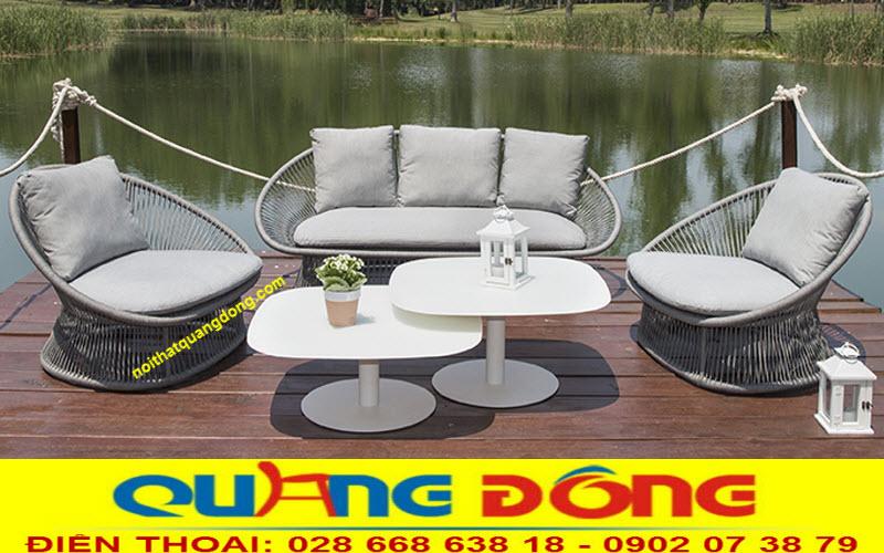 Mẫu ghế giả mây đan sợi dây dù polyester cao cấp siêu bền , tính chịu mưa nắng nhờ chất kháng UV tia cực tím