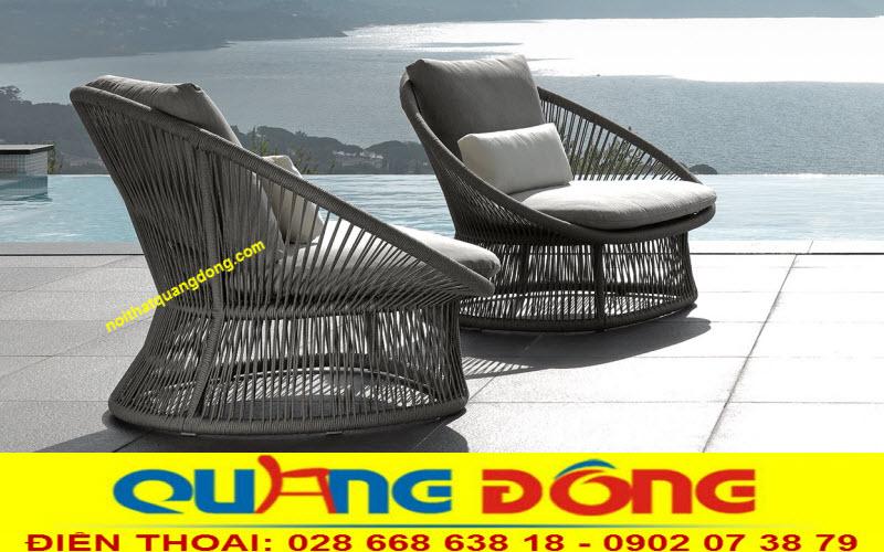 Mẫu ghế cao cấp dùng cho sân vườn, khu vực ngoài trời, ghế giả mây đan sợi dây dù siêu bền đẹp