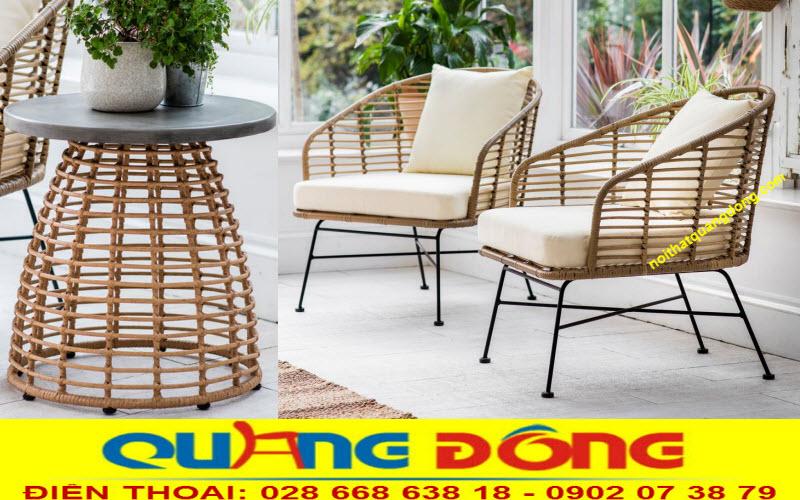 Bộ bàn ghế giả mây QD-278 sản phẩm được đan sợi dây nhựa tròn bản lớn siêu bền