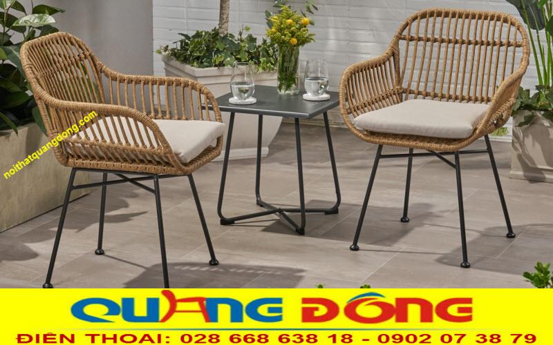 Mẫu bàn ghế giả mây QD-279 đan sợi nhựa tròn bản lớn 8 ly độ bền cao kiểu dáng thanh thoát đơn giản