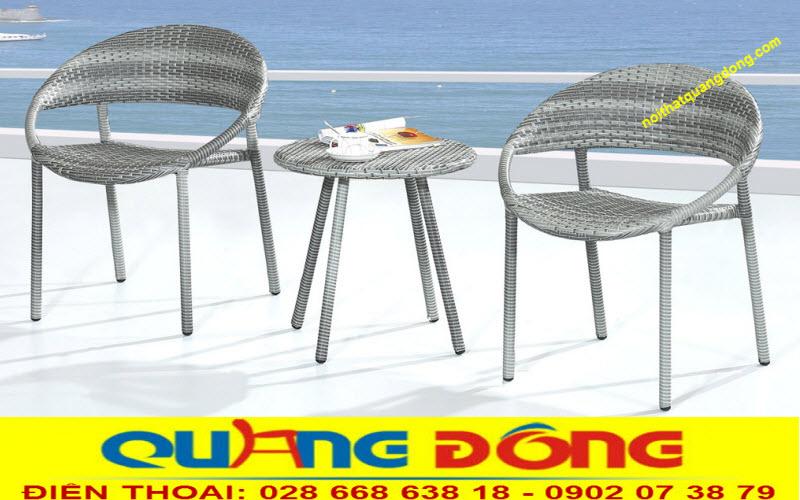 Bàn ghế giả mây QD-280 sản phẩm dùng cho ngoại thất sân vườn, khu vực ngoài trời phù hợp với quán cafe, khu resort...