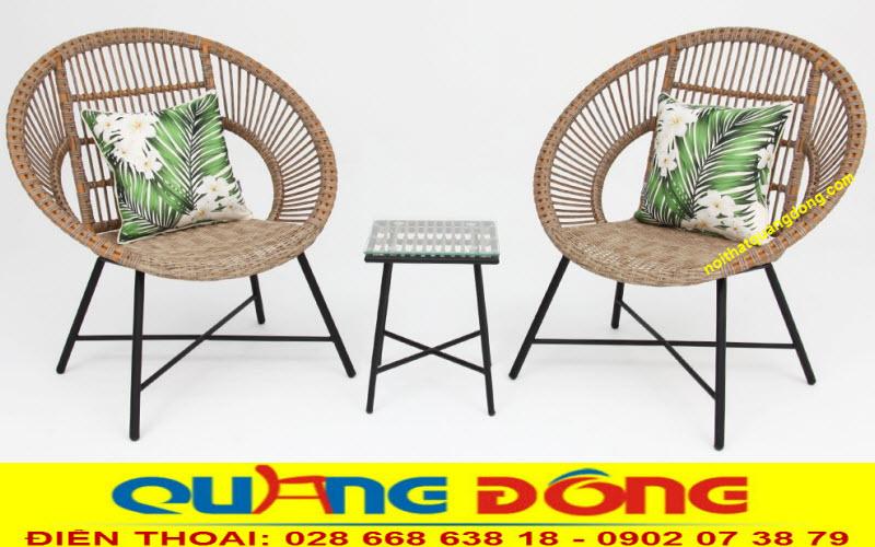 Mẫu ghế giả mây đan sợi nhựa tròn bền đẹp, chịu mưa nắng êm thoáng hơn