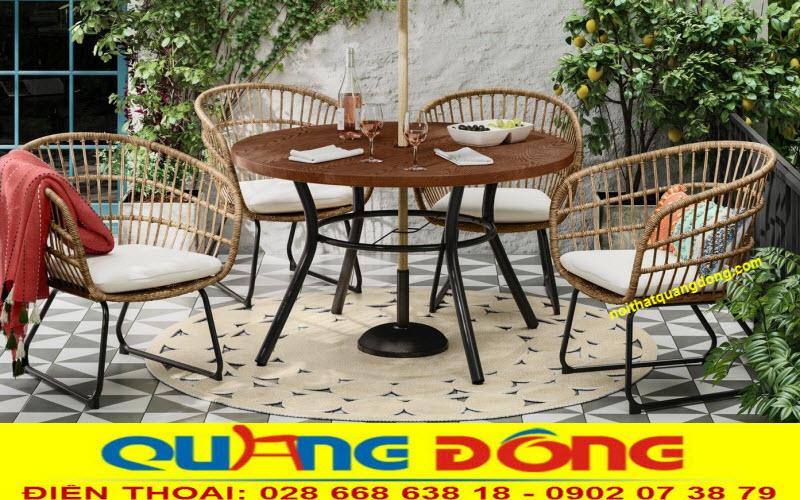 Bộ bàn ghế giả mây QD-283 đan sợi nhựa tròn cực bền, kết hợp kiểu đan song song thoáng đãng bền đẹp