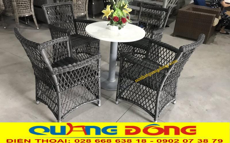 Bộ bàn ghế giả mây QD-293 đan sợi mây nhựa tròn bàn 3,4ly siêu bền, kết hợp kiểu đan kazo thoáng đãng đẹp mắt
