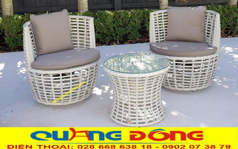 Bộ bàn ghế giả mây QD-294 đan sợi nhựa rattan giả mây cao cấp có hoạt chất kháng Uv tia cực tím chịu mưa nắng ngoài trời