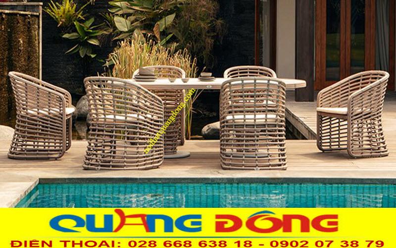 Bộ bàn ghế giả mây QD-297 gồm 6 ghế và 1 bàn dài phù hợp cho bộ bàn ăn ngoài trời