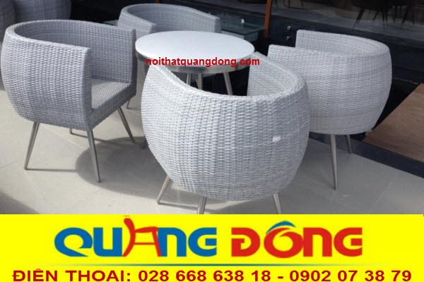Bàn ghế giả mây cao cấp QD-302 sản phẩm dùng cho quán cafe hay những khu resort cao cấp