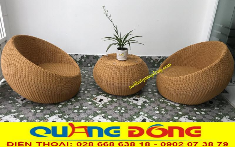 Bộ bàn ghế mây nhựa sợi tròn siêu bền đẹp có hoạt chất kháng Uv tia cực tím chịu mưa nắng