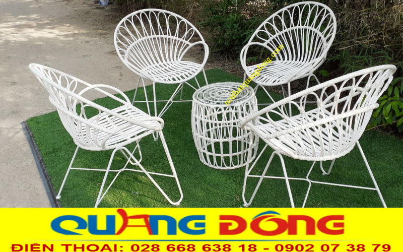 Bộ bàn ghế giả mây QD-309 sản phẩm hàng thủ công mỹ nghệ cao cấp chuyên dùng cho sân vườn ngoài trời