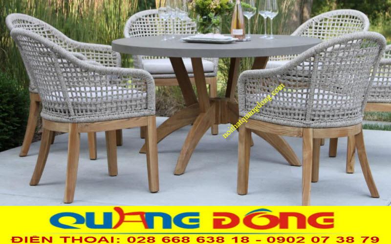 Bàn ghế dùng cho sân vườn ngoài trời giả mây cao cấp được đan thủ công bằng sợi dây dù polyester cao cấp siêu bền chịu mưa nắng