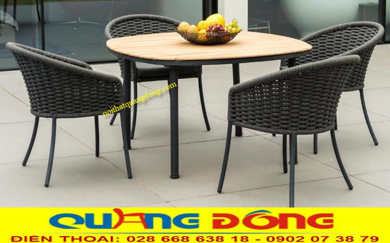 Mẫu bàn ghế đan sợi dây dù polyester giả mây cao cấp dùng cho sân vườn ngoài trời