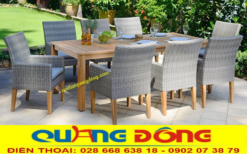 Mẫu bàn ghế ngoài trời sân vườn gồm 8 ghế 1 bàn, bộ bàn ghế giả mây QD-313