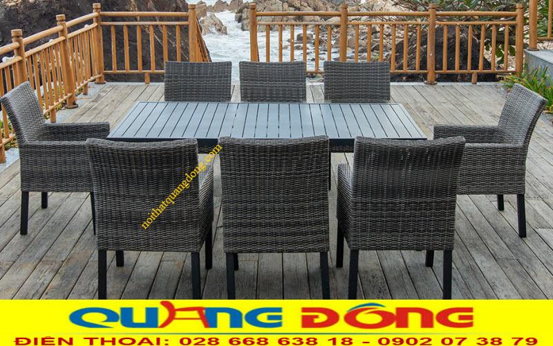 Bàn ghế giả mây khung kim loại đan sợi mây nhựa cao cấp chịu mưa nắng ngoài trời