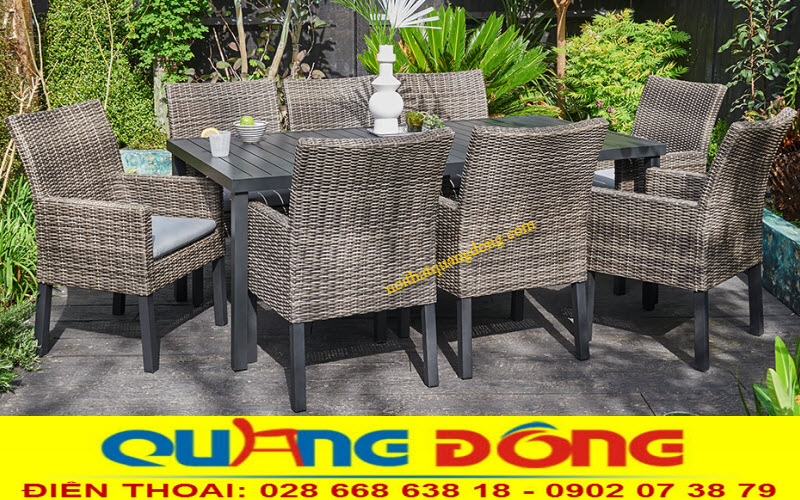 Mẫu bàn ghế chuyên dùng ngoài trời đan sợi nhựa giả mây cao cấp có hoạt chất kháng UV