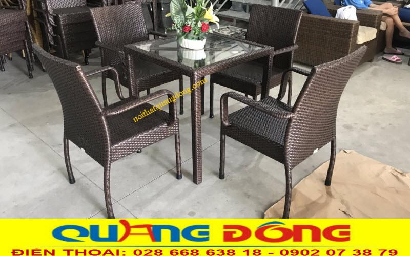 Bộ bàn ghế giả mây QD-314 sản xuất tại công ty tnhh Nội Thất Quang Đông