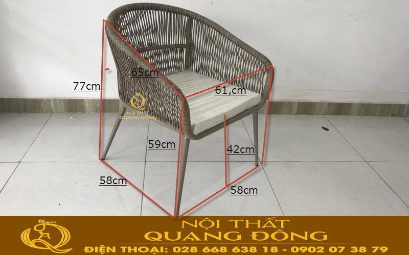 Quy cách kích thước chuẩn sản xuất mẫu ghế giả mây đan sợi tròn QD-328