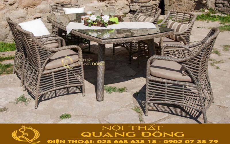Bộ bàn ghế giả mây QD-332 đan sợi mây nhựa tròn bản lớn có hoạt chất kháng UV tia cực tím sản phẩm chuyên dụng cho sân vườn ngoài trời