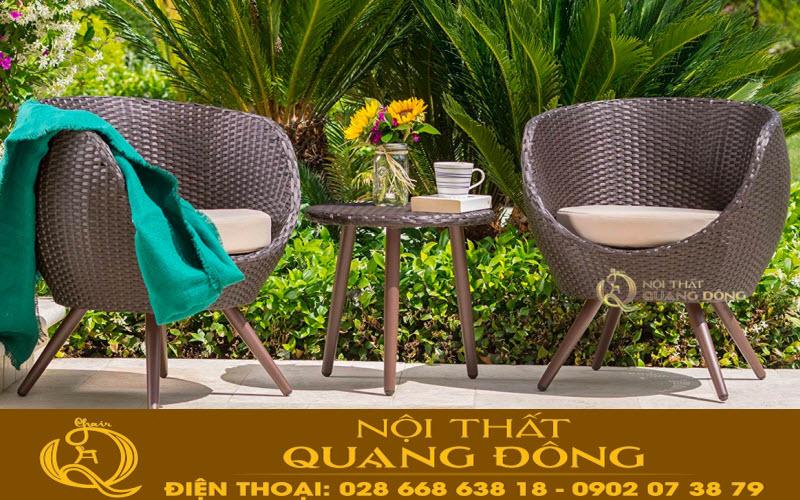 Bộ bàn ghế giả mây QD-334 thiết kế kiểu dáng hoàn toàn mới lạ, tạo điểm nhấn đẹp cho ngoại thất