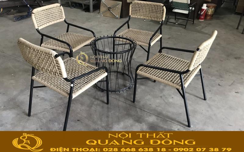 Mẫu ghế dùng cho sân vườn ngoài trời giả mây đan sợi dây dù polythene