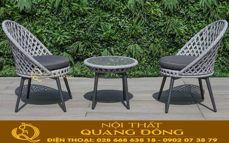 Bộ bàn ghế giả mây QD-341 đan sợi dây dù polythelen chống mài mòn cao, cực bền chịu mưa nắng