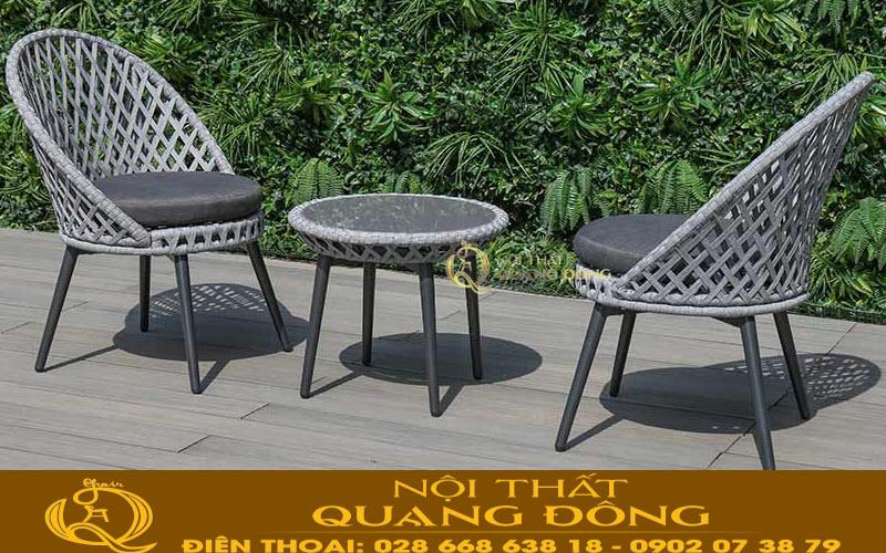 Bàn ghế giả mây QD-341 giải pháp tối ưu nhất cho không gian sân vườn ngoài trời khu resort, quán cafe sân vườn, khu vực garder khách sạn