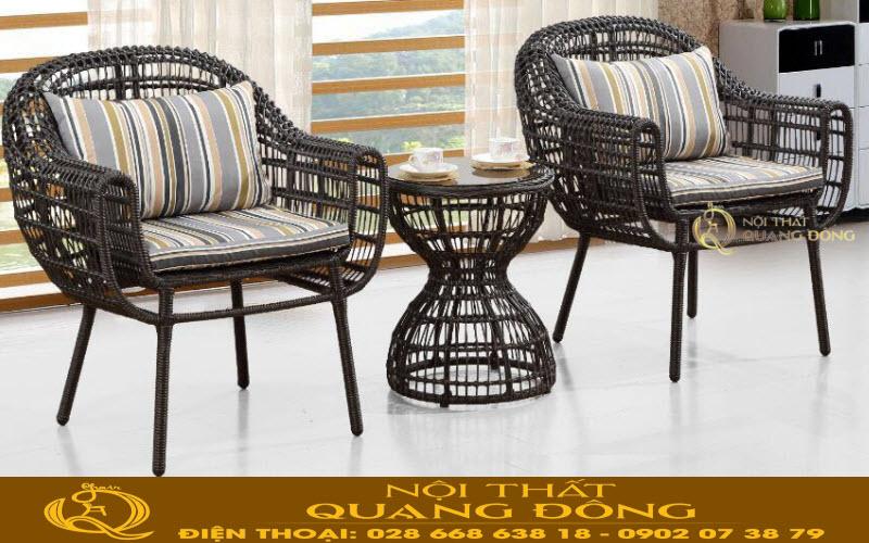 Bộ bàn ghế giả mây đan sợi mây nhựa tròn tính thẩm mỹ cao cực chắc, bền đẹp với thời gian