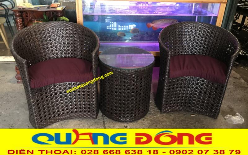 Bộ bàn ghế giả mây QD-344 thiết kế kiểu dáng mới lạ độc đáo, sản phẩm dùng cho ngoại thất sân vườn