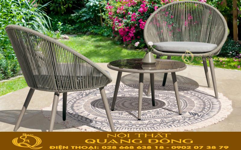Mẫu bàn ghế cho sân vườn ngoài trời giả mây đan thủ công bằng sợi dây dù polythene