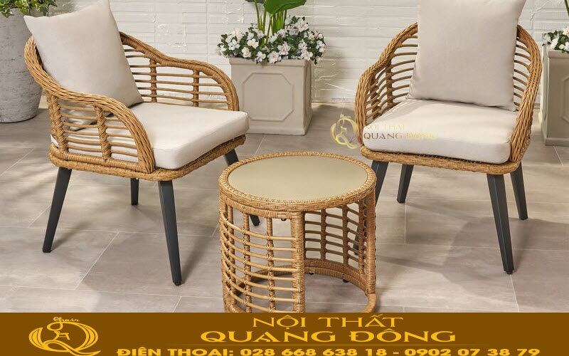 Bộ bàn ghế giả mây QD-350 đan sợi mây nhựa tròn tính thẩm mỹ cao, bền đẹp chịu mưa nắng