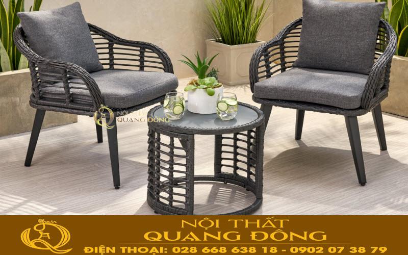 Giải pháp tối ưu cho không gian ngoại thất sân vườn với mẫu bàn ghế giả mây QD-350