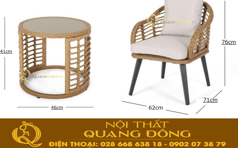 Kích thước tiêu chuẩn mẫu bàn ghế giả mây QD-350 cho bạn tham khảo