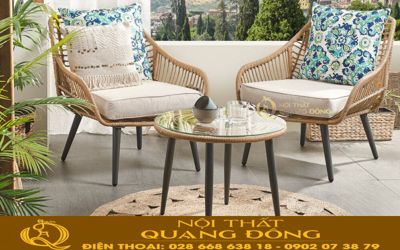 Mẫu bàn 2 ghế cho ban công, sân vườn