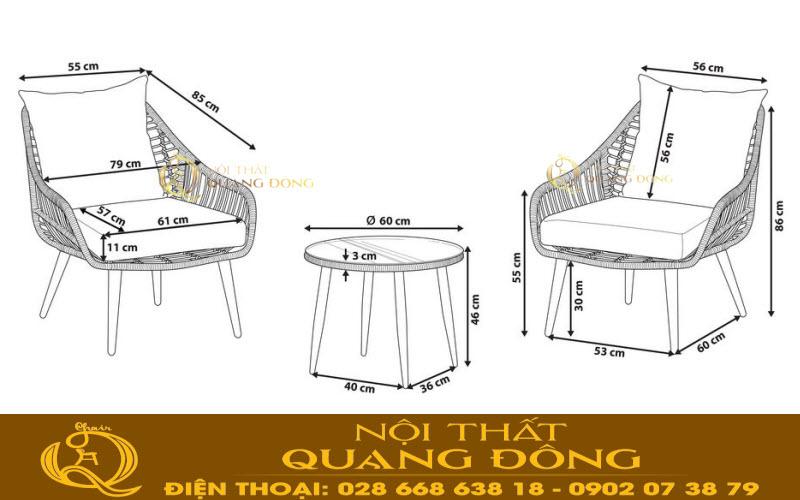 Bản vẽ chi tiết mẫu bàn ghế giả mây QD-353 cho bạn tham khảo