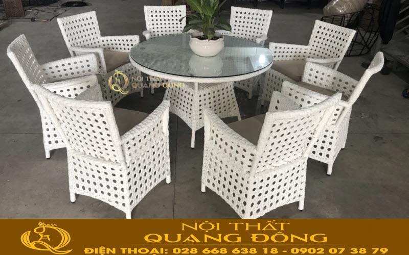 Mẫu bàn ăn 8 ghế bằng nhựa giả mây